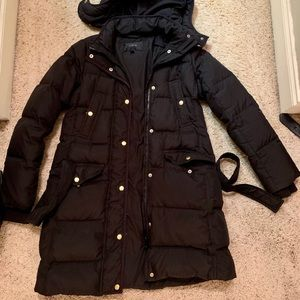 J Crew Black Puffer Long Jacket
